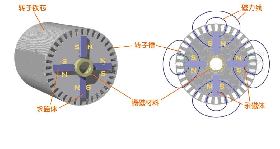 近些年永磁同步电机得到较快发展,其特点是功率因数高、效率高,在许多场合开始逐步取代最常用的交流异步电机,其中异步起动永磁同步电机的性能优越,是一种很有前途的节能电机。 永磁同步电机的定子结构与工作原理与交流异步电动机一样。下图是有线圈绕组的定子示意图。  下图是装在机座里的定子。  永磁同步电动机与普通异步电动机的不同是转子结构,转子上安装有永磁体磁极,下左图就是一个安装有永磁体磁极的转子,永磁体磁极安装在转子铁芯圆周表面上,称为凸装式永磁转子。磁极的极性与磁通走向见下右图,这是一个4极转子。  根据磁阻