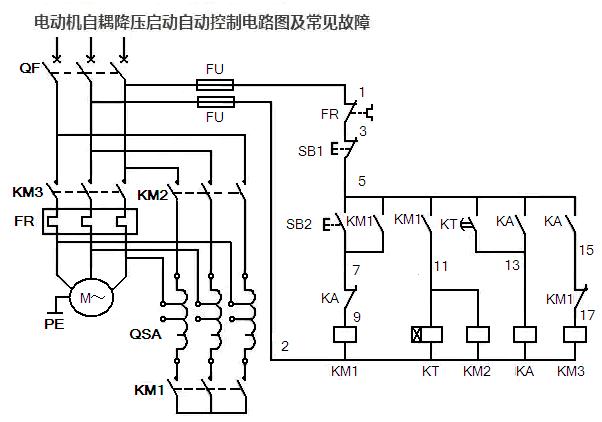 三相电动机自耦降压启动自动控制电路图及常见故障